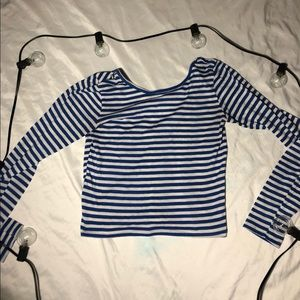 Stripped blue and white long sleeve top